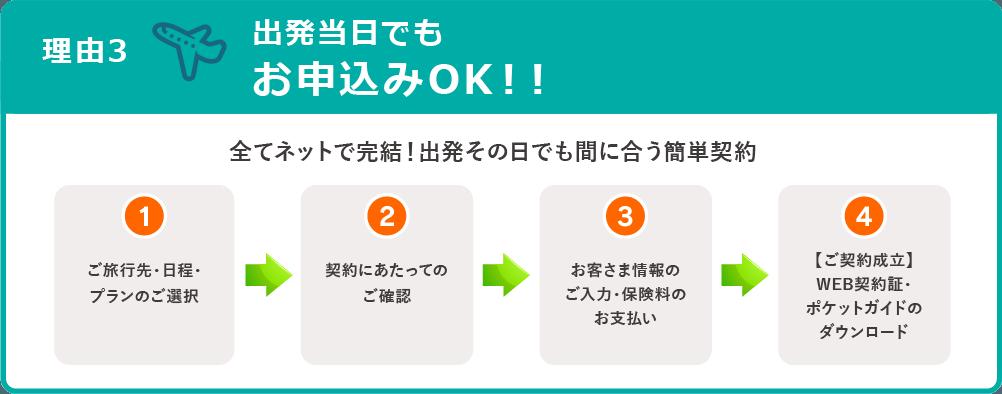 理由3:出発日当日でもお申し込みOK!!